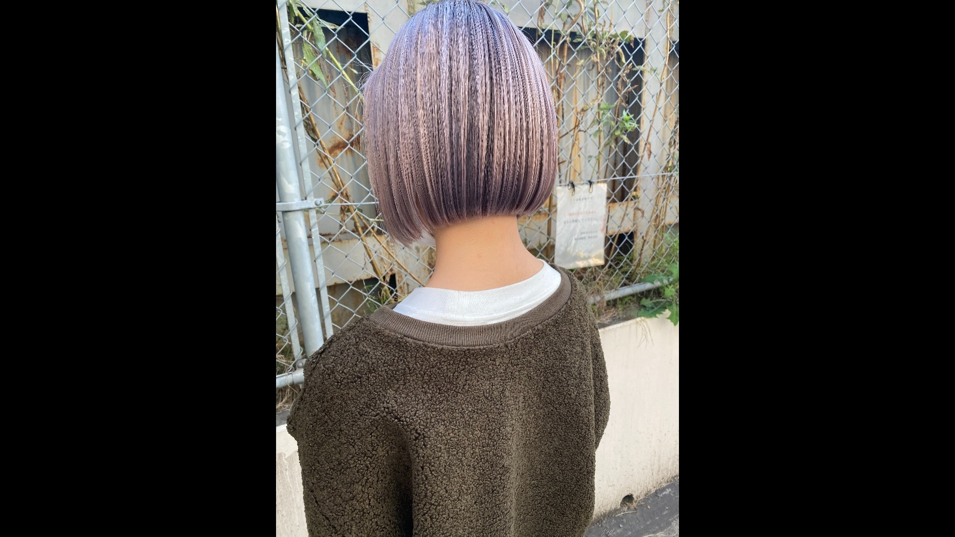 platina lavender × 前下がりbob cut